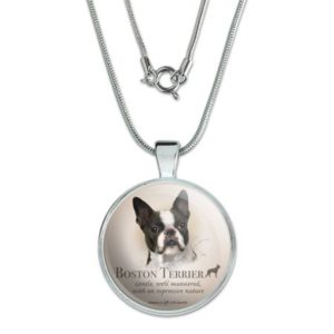 """Boston Terrier Dog Breed 1"""" Pendant with Sterling Silver Plated Chain"""
