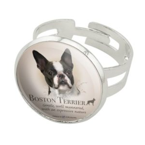 Boston Terrier Dog Breed Silver Plated Adjustable Novelty Ring
