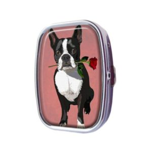 Guojew Boston Terrier With A Rose In Mouth Custom Fashion Square Pill Box Tablet Holder Pocket Purse Organizer Case Decoration Box