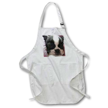 3dRose Boston terrier puppy - Full Length Apron, 24 by 30-inch, White, With Pockets