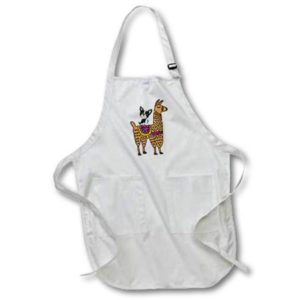 3dRose Funny Cool Boston Terrier Dog Riding Llama Cartoon - Full Length Apron, 22 by 30-inch, Black, With Pockets