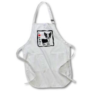 3dRose I Love My Boston Terrier - Full Length Apron, 22 by 30-inch, Black, With Pockets