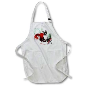 3dRose Molly Boston Terrier - Full Length Apron, 24 by 30-inch, White, With Pockets