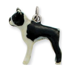 925 Sterling Silver Enameled Boston Terrier (19x21mm) Pendant / Charm