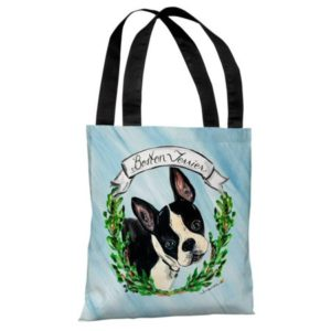 Boston Terrier - Blue Multi Tote Bag by Timree Tote Bag - 18x18