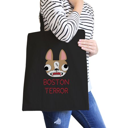 Boston Terror Terrier Black Canvas Tote Foldable Bag Dog Owner Gift