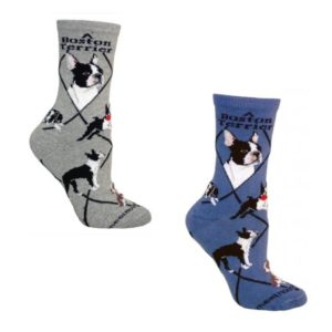 Bundle 2 Items: Boston Terrier on Blue and on Gray Large Cotton Socks