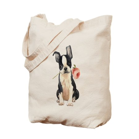 CafePress - Boston Terrier Rose - Natural Canvas Tote Bag, Cloth Shopping Bag