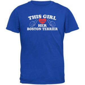 Valentines This Girl Loves Her Boston Terrier Royal Adult T-Shirt
