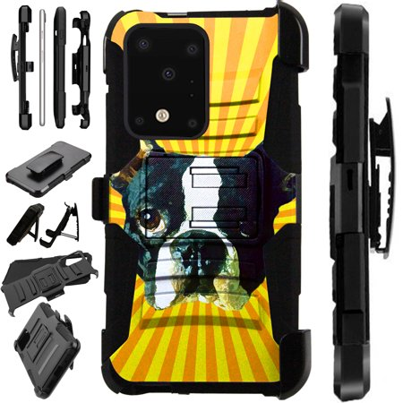 WORLD ACC LuxGuard Holster Compatible with Samsung Galaxy S20 S 20 Ultra Case Hybrid Phone Cover (Boston Terrier)