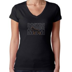 Womens T-Shirt Rhinestone Bling Black Tee Boston Terrier Mom Dog Pet V-Neck XX-Large