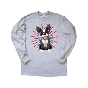 Boston Terrier Dog 4th of July USA Patriotic Long Sleeve T-Shirt